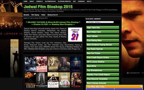 Screenshot of Home Page jadwal21.com - Jadwal Film Bioskop XXI Januari 2015 Minggu Ini - captured Jan. 23, 2015
