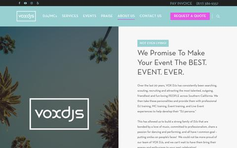 Screenshot of About Page voxdjs.com - #1 DJ Company in Southern California/Arizona    Vox DJs - captured Oct. 20, 2018