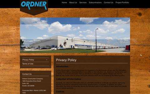 Screenshot of Privacy Page ordner.com - Ordner Construction Company - Privacy - captured Oct. 26, 2014
