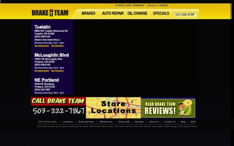 Screenshot of Locations Page braketeam.pro - Brake Team | Auto Repair Service | Service Center Locations | Portland, Oregon (OR) - captured Sept. 30, 2014