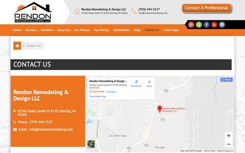 Screenshot of Contact Page rendonremodeling.com - Contact Us - Rendon Remodeling and Design LLC - captured Oct. 20, 2018