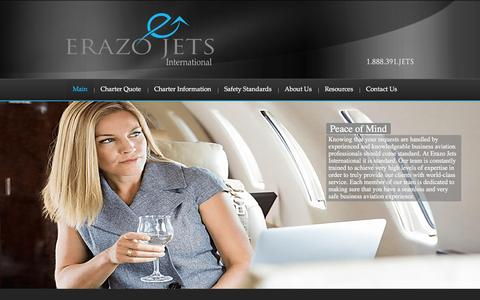 Screenshot of Home Page erazojets.com - Private Jet Charter - Erazo Jets International - captured Jan. 29, 2016