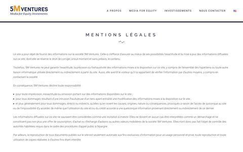 Screenshot of Terms Page 5m-ventures.com - Mentions légales – 5M Ventures - captured Dec. 18, 2016