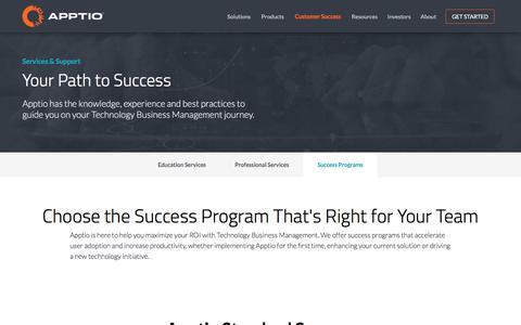 Screenshot of Support Page apptio.com - Success Programs | Apptio - captured Oct. 28, 2016