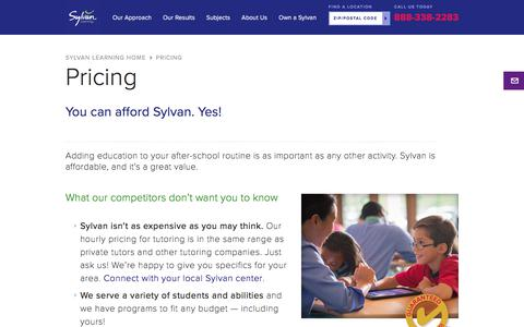 Screenshot of Pricing Page sylvanlearning.com - Sylvan Learning Pricing   How Much Does Sylvan Learning Cost - captured Dec. 13, 2017