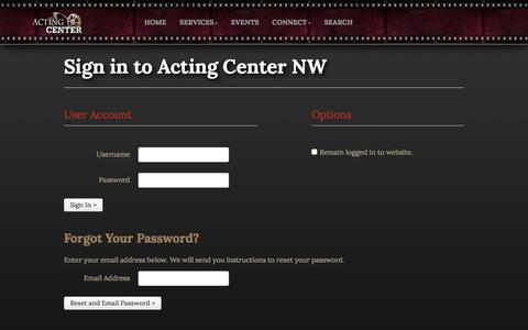 Screenshot of Login Page actingcenternw.com - Acting Center NW :: Login - captured Feb. 5, 2016