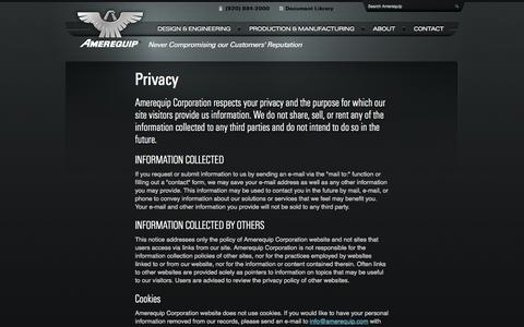 Screenshot of Privacy Page amerequip.com - Privacy | Amerequip (ARPS) - Design, Engineering and Manufacturing Solutions for OEMs, and Custom Equipment, Tractor Attachments and Backhoes - captured Oct. 4, 2014