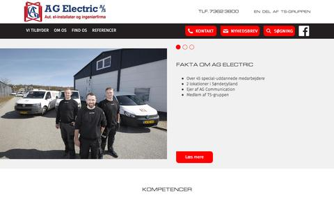Screenshot of Home Page ag-electric.dk - Forside | A.G.Electric A/S - captured Nov. 18, 2016