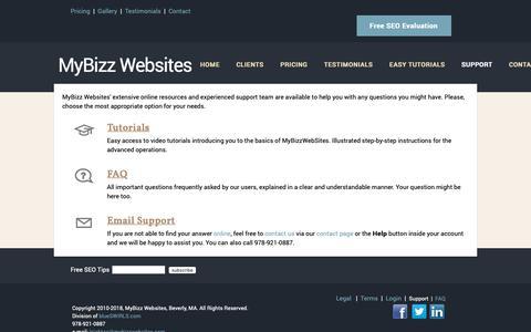 Screenshot of Support Page mybizzwebsites.com - MyBizz Websites | Support | Beverly, MA - captured Oct. 19, 2018