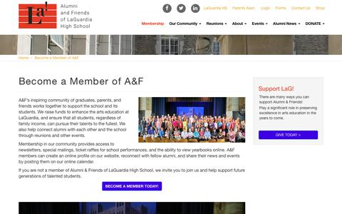 Screenshot of Signup Page alumniandfriends.org - Become a Member of A&F | Alumni & Friends of LaGuardia - captured Oct. 3, 2018