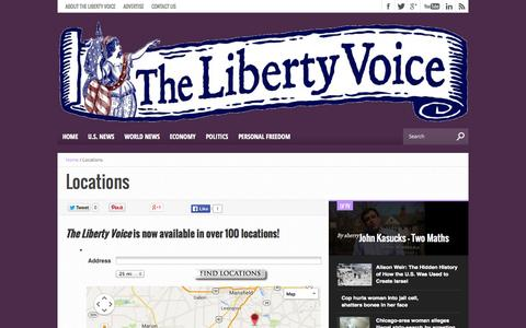 Screenshot of Locations Page thelibertyvoice.com - Locations - captured Nov. 5, 2014