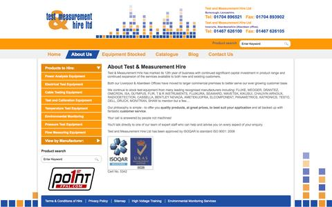 Screenshot of About Page instruments4hire.co.uk - Test and Measurement - Fluke - Megger - Omicron Equipment Rental - captured Oct. 26, 2014