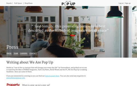 Screenshot of Press Page wearepopup.com - Press | We Are Pop Up - captured Jan. 17, 2016
