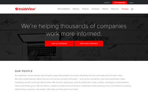 Screenshot of Jobs Page insideview.com - InsideView Careers | InsideView - captured April 25, 2018