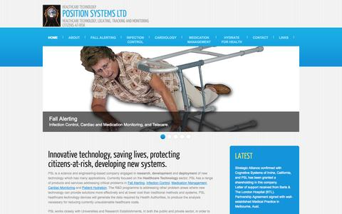 Screenshot of Home Page position-systems.co.uk - Healthcare technology, infection control, cardiac monitoring, medication management, fall alerting - captured Oct. 1, 2014