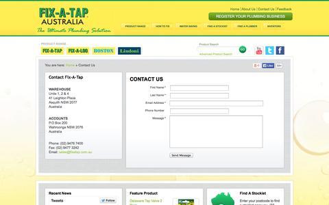 Screenshot of Contact Page fixatap.com.au - Contact Us - Fix A Tap - captured Sept. 23, 2014