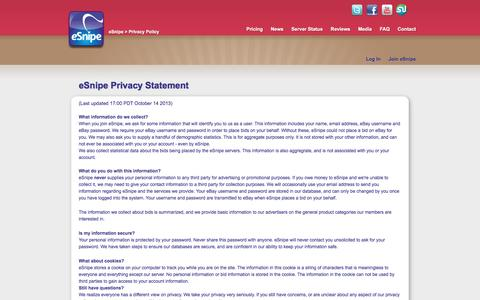 Screenshot of Privacy Page esnipe.com - Privacy Policy | eSnipe - captured May 23, 2017