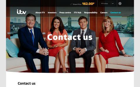 Screenshot of Contact Page itvplc.com - Contact us – ITV plc - captured Sept. 13, 2018