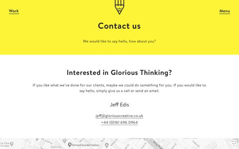 Screenshot of Contact Page gloriouscreative.co.uk - Contact – Glorious Creative – Branding & Design Agency Manchester - captured July 13, 2018