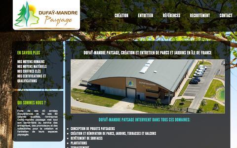 Screenshot of Home Page dufaymandre.fr - Dufaÿ-Mandre paysage, création et entretien de jardins en île de France - captured Oct. 16, 2015