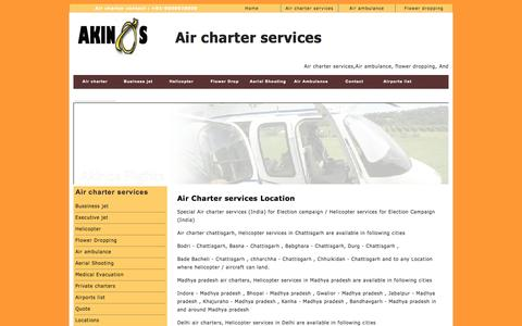 Screenshot of Locations Page akinosflights.com - Air charter services |South india air charters | North india air charters | North east | Air charter services | Flower Dropping | Air ambulance | - captured Sept. 30, 2014