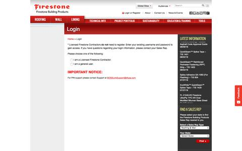 Screenshot of Login Page firestonebpco.com - Login - Firestone Building Products - captured Aug. 18, 2018