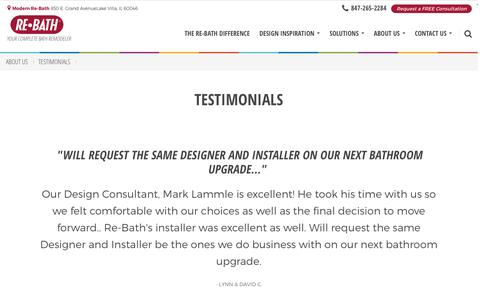 Screenshot of Testimonials Page rebath.com - Testimonials | [SiteProperty:SiteURL] Bathroom Remodeling | About Us - captured Dec. 3, 2016