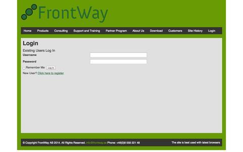 Screenshot of Login Page frontway.se - Login | FrontWay - captured Oct. 6, 2014
