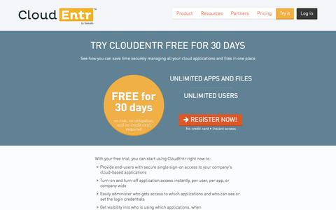 Screenshot of Trial Page cloudentr.com - Free Trial — CloudEntr - captured Sept. 13, 2014