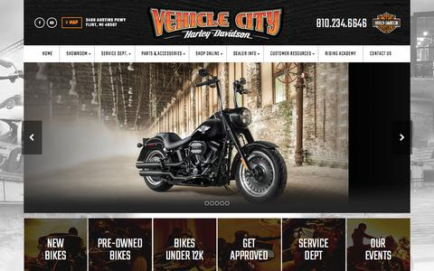 Screenshot of Home Page vehiclecityharley.com - Vehicle City Harley-Davidson® - Flint, Michigan - Featuring New & Pre-Owned Harley-Davidson® Motorcycle Sales, Service, Parts, Financing, Accessories, and Riding Lessons! - captured Dec. 8, 2016