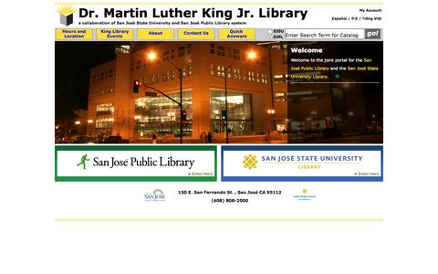 Screenshot of Home Page Menu Page sjlibrary.org - King Library Home | Dr. Martin Luther King Jr. Library - captured Sept. 24, 2014