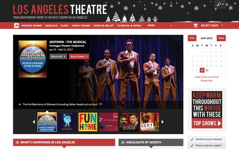 Screenshot of Home Page los-angeles-theatre.com - Los Angeles Theater: Broadway Shows, Musicals, Plays, Concerts in 2016/17 - captured Nov. 29, 2016