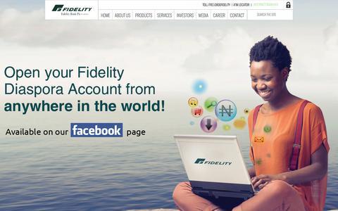 Screenshot of Home Page fidelitybankplc.com - HOME - captured Jan. 21, 2015
