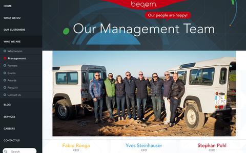 Screenshot of Team Page beqom.com - beqom Management Team   Executives & Directors - captured Jan. 25, 2018