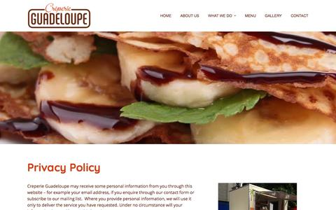 Screenshot of Privacy Page creperie-guadeloupe.co.uk - Privacy Policy - Crêperie Guadeloupe - Mobile Catering Service for Events - captured July 23, 2018