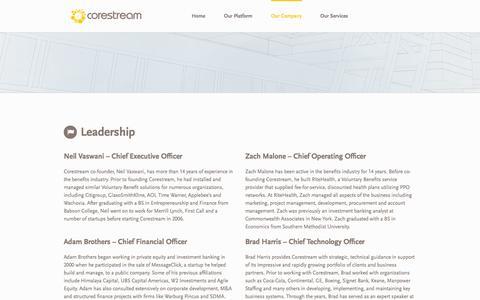 Screenshot of Team Page corestream.com - Corestream > Public > Our Company > Leadership - captured Sept. 25, 2014