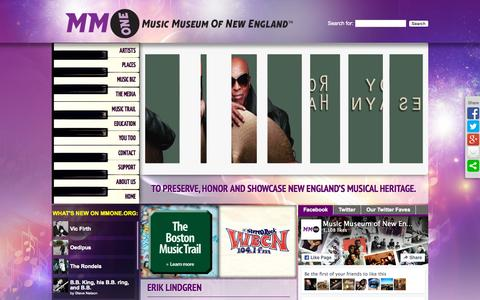 Screenshot of Home Page mmone.org - The Music Museum of New England | To preserve, honor and showcase New England's Musical Heritage - captured Oct. 9, 2015