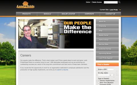 Screenshot of Jobs Page landpride.com - Careers   Land Pride - captured July 15, 2018