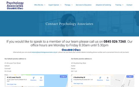 Screenshot of Contact Page psychologyassociates.org.uk - Contact Psychology Associates - captured Nov. 5, 2018