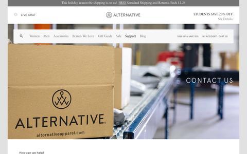Screenshot of Contact Page alternativeapparel.com - Contact | Alternative - captured Dec. 2, 2015