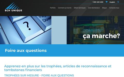 Screenshot of FAQ Page bchunique.com - Cadeaux corporatifs, tombstones financiers et trophées sur mesure | FAQ - captured July 31, 2018
