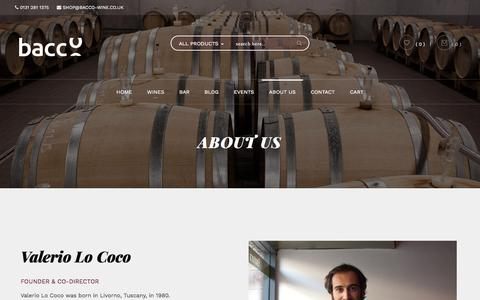 Screenshot of About Page bacco-wine.co.uk - ABOUT US - Bacco - captured Aug. 1, 2018