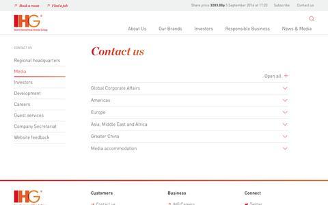 Screenshot of Press Page ihgplc.com - Media - Contact us -  InterContinental Hotels Group PLC - captured Sept. 5, 2016