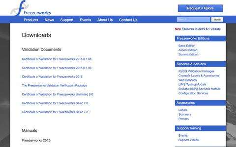Screenshot of Support Page freezerworks.com - Downloads – Laboratory Software for Sample Tracking, Sample Management, and Freezer Inventory - captured Nov. 23, 2016