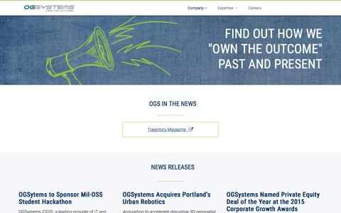 Screenshot of Press Page ogsystems.com captured July 17, 2016