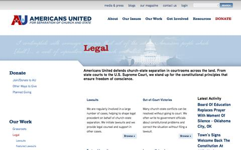 Screenshot of Terms Page au.org - Legal | Americans United - captured Oct. 4, 2016