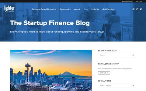 Screenshot of Blog lightercapital.com - The Startup Finance Blog - Lighter Capital - captured Nov. 4, 2018