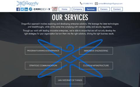 Screenshot of Services Page thedragonflygroup.com - The Dragonfly Group | Services - captured Sept. 20, 2018