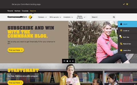 Screenshot of About Page commbank.com.au - About Us - Learn more about Shareholders, Careers - CommBank - captured Sept. 19, 2014