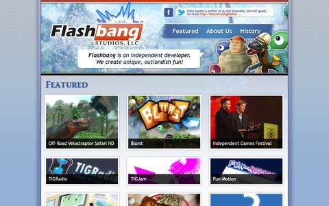 Screenshot of Home Page flashbang.biz - Flashbang Studios - captured Oct. 10, 2018